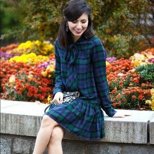 Zara Plaid Bow Tie Neck Tartan Drop Waist Dress